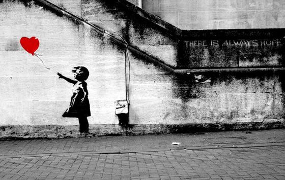 banksy girl heart hope