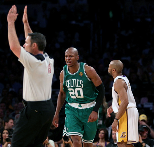 ray allen shooting 3. That would belong to Ray Allen